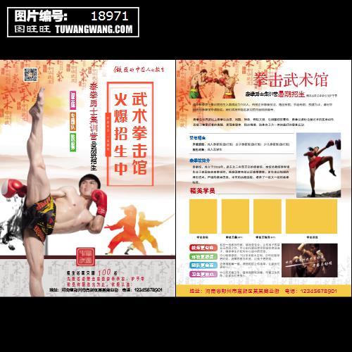 暑假武术招生拳击散打培训教育宣传单页 (编号:18971)