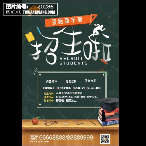 秋季班领跑新学期教育培训艺术招生海报 (编号:20286)