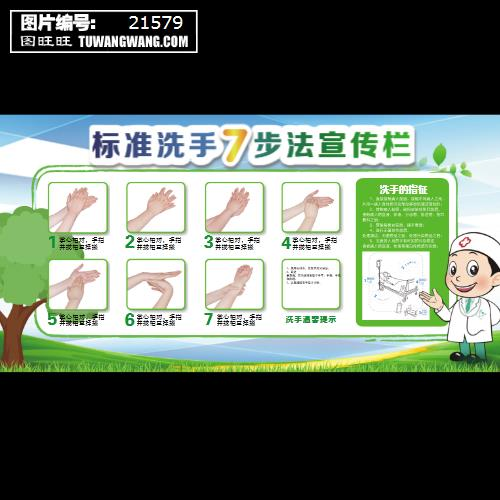 标准七步洗手法宣传栏展板 (编号:21579)