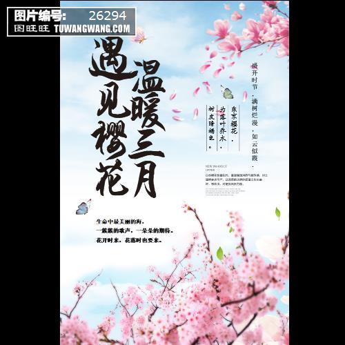 小清新春天醉美樱花节春季旅游赏花海报 (编号:26294)