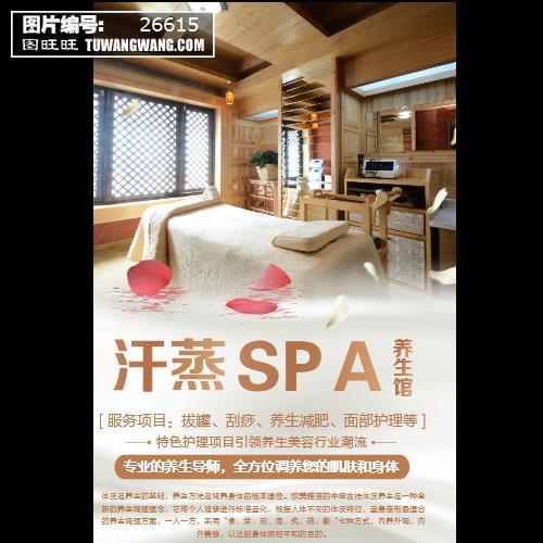 汗蒸spa养生馆创意海报 (编号:26615)