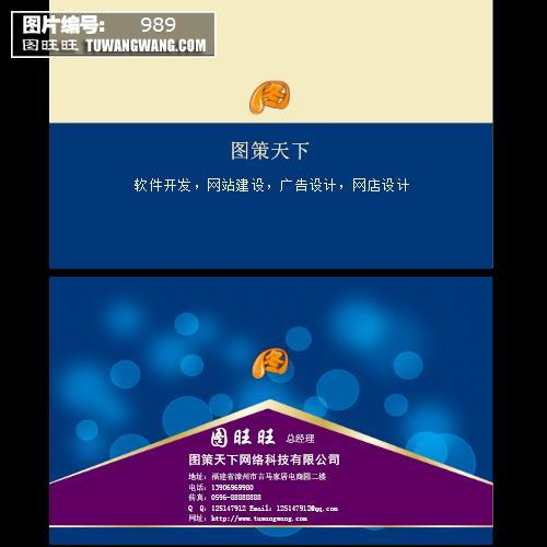 深蓝色简约名片 (编号:989)